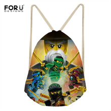 FORUDESIGNS Small Drawstring Bag Boys Cartoon Ninjago 3D Print Kids String School Bags Casual Men's Mochila Shoe Package Bag