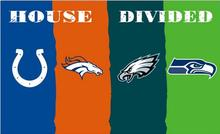 NFL Indianapolis Colts vs Denver Broncos vs eagles vs Seattle four teams house divided flag with metal grommets 3x5FT(China)
