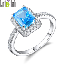 Lateefah Vintage Created Aquamarine Birthstone Rings for Women Bagutte Cut Light Blue Stone Cubic Zirconia Female Ring Femme