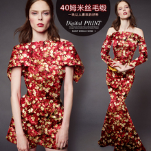 140cm wide 40mm 35% wool & 65% thick floral red silk fabric for autumn and winter dress shirt clothes cheongsam
