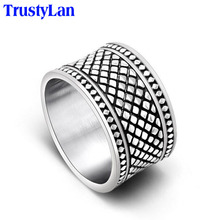 TrustyLan Super 13MM Wide Cool Man Ring Stainless Steel Mens Rings Top Quality Wholesale Male Jewelry Punk Accessories 2017