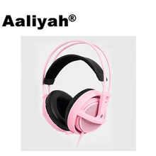 Aaliyah New Pink Color Gaming Headset Steelseries Siberia V2 Brand Noise Isolating Game Headphones For Computer Gamer Headphone
