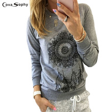 Cova Sophy Women Pullovers Sweatershirt O-neck Long Sleeve Autumn Shirt Fashion Casual Female Hoodies Plus Size