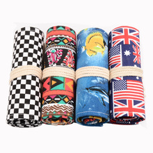 36/48/72 Holes Canvas Roll Up Colored Pencil Case Drawing Holder Colored Sketching Bag School Pencil Case Stationery
