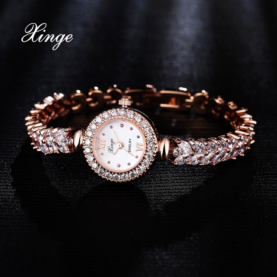 Xinge 3A Zircon Women Watches Crystal Luxury Dress Bracelet Wristwatches Women Quartz Watch Wheat Band Bracelet Watches Clock<br>