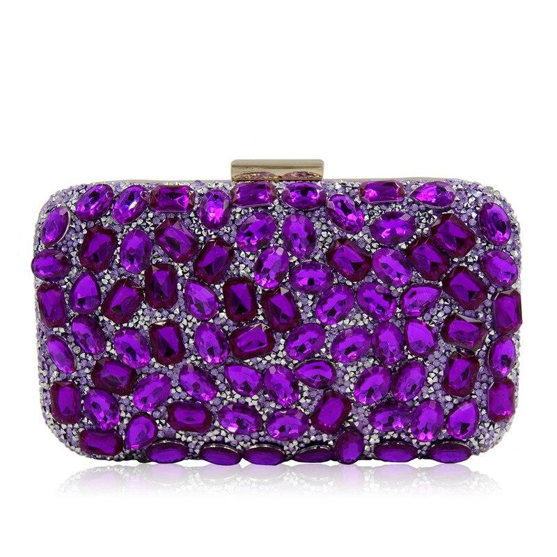 Luxury crystal Clutch bags bling rhinestone evening bags rose red women evening clutch bags party bag<br>