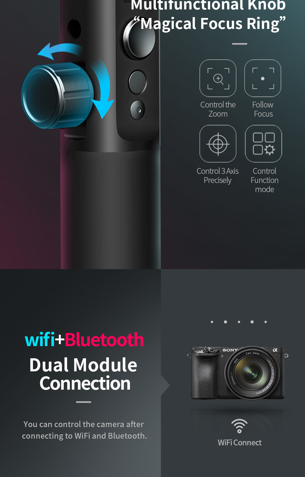 FeiyuTech G6 Plus 3-Axis Handheld Gimbal Stabilizer for Mirrorless Camera Pocket Camera GoPro Smartphone Payload 800g Feiyu G6P 4