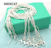 SALE wholesale retail 16 18 20 22 24 inch Beautiful fashion silver 1MM snake chain jewelry wholesale bulk stamp MEEKCAT 925