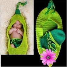 Crochet Baby Hat Cocoon Newborn Baby Pea Pod Photography Props Infant Kids Crochet Costume Clothes,crochet baby set pattern(China)