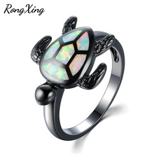 RongXing Lovely Turtle White Fire Opal Animal Rings for Women Wedding Band Fashion Jewelry Vintage Black Gold Filled Ring RB1034