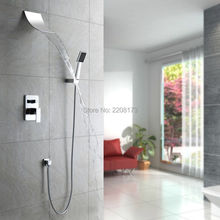 Promotions Retail New Arrival Simple Style Wall Mounted Shower System With Waterfall Spout Head & Handheld Shower Faucet Set(China)