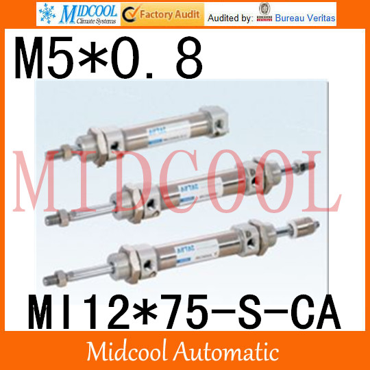 MI Series ISO6432 Stainless Steel Mini Cylinder  MI12*75-S-CA bore 12mm port M5*0.8<br>