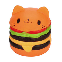 Jumbo Cartoon Cat Hamburger Scented Slow Rising Exquisite Kid Soft Toy Stress Reliever Antistress Slime toys(China)