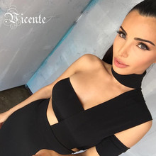 2017 New Free Shipping Elegant Choker Top Design Inspired Tube Midi Length HL Party Celebrity Bandage Dress(China)