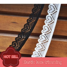 10 yards/lot  1.8 CM Wide Black White Elastic Loving Heart Lace Trim Handmade DIY Wedding Dress Clothes Accessories Lace Fabric