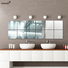 Keythemelife 10pcs Square Acrylic Mirror Wall Stickers Art Wall Decor Wall Stickers Home Decor Living Room Mirrored Sticker 5C(China)