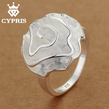 WHOLESALE  Hot  Promotion silver Fashion rose solid Ring big heavy Rose Flower gift Women Party  free shipping wholesale 925