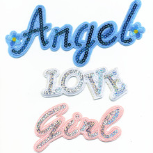 1Pcs Donut Embroidered Iron On stcik on beauty English Letters Angel Love Girl Sequins Paillette Cloth Patches Patch Badges