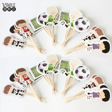 New Arrival 24pcs Clever Football baseball Basketball player Topper Picker for boy girl kids birthday party cake decoration