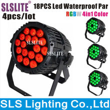 4pcs/lot Color changing outdoor lights waterproof 18pcs IP65 RGBW 4in1 led flat par light par can light 12w 4 in 1 stage light(China)
