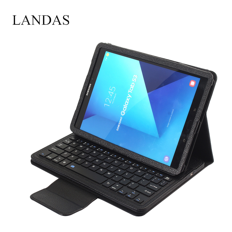 Landas Case With Keyboard For Samsung Galaxy Tab S3 9.7 T820 T825 PU Leather Case Stand Cover Bluetooth Keyboard For Samsung 9.7<br>
