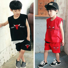 2017 summer Boy Clothing set Children's basketball clothes boy's sport suits baby set 100% cotton letter print t-shirts+shorts