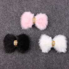 Fur Headband for little Girl single sprinkled Large rabbit fur kids Hair Accessories FUR BOW Headband Photography Prop 3Pcs/lot