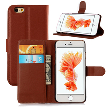 Luxury PU Leather Case Wallet Book Cover For iPhone 6 6S Credit Card Slot Phone Shell Full Protect Flip Cover Capa Fashion Brown
