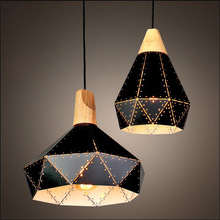 Black white iron retro pendant lamps wood&metal diamond lampshade industrial hanging light cafe/dining/living room light fixtrue
