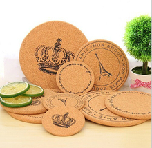 5PCS/LOT Cork Coasters For Mugs Retro Wood Table Wreath Cork Place Mat Coasters Party Gift Wood Cork Mat Round Shape S/M/L(China)