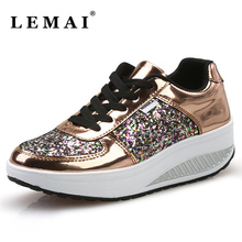 2017 Autumn/Winter Sports Trainers Shoes Height Increasing Platform Outdoor PU Sneakers Women Running Shoes
