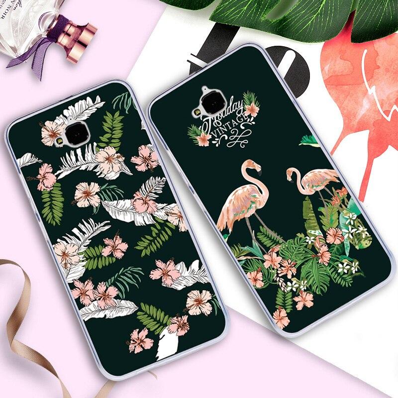 Case For Huawei Honor Y6 Pro/4C Pro/Enjoy 5/Honor Holly 2 Plus TIT-AL00 Y6Pro TIT-L01 TIT-U02 Flamingo Print Cover Flower Shell