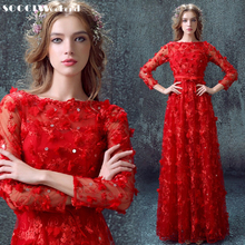 SOCCI New Arrival Long Red elegant Cocktail Dress Muslim Zipper A-line Pearl Flowers Formal Wedding Party Reception Prom Dresses(China)
