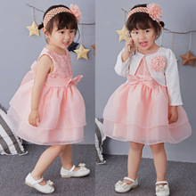 2017 New Brand Baby Girl Baptism Wedding Dress Princess Party Formal Prom Pageant Christening Dresses Kids Frock With Hair band(China)