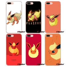 cute cartoon anime Pokemon Flareon Apple iPhone X 4 4S 5 5S SE 5C 6 6S 7 8 Plus 6sPlus 6Plus 7plus 8plus Silicone Phone Case