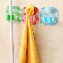 Crystal Power Square Hook Mop Holder Wall Mounted Kitchen Bathroom Suction Cup Rag Broom Mop Rack Storage Holder Hanger(China)