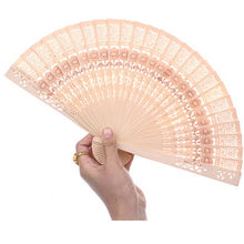 New Wooden Carved Sunflower Print Hand Fragrant Bamboo Folding Fan Wedding Wholesale