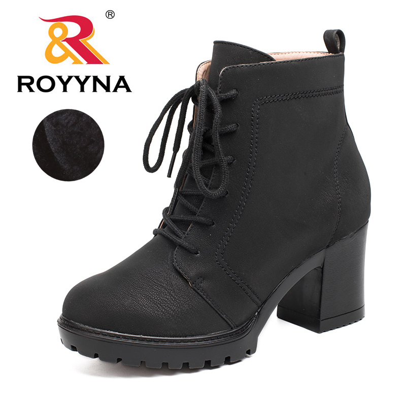 ROYYNA 2017 Classics Designer Styles Women Ankle Boots Round Toe Women Shoes Lace Up Nubuck  Synthetic Leather Ladies Boots <br>