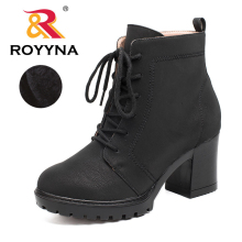 ROYYNA 2017 Classics Designer Styles Women Ankle Boots Round Toe Women Shoes Lace Up Nubuck Synthetic Leather Ladies Boots(China)