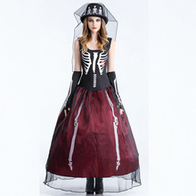 Halloween Costume Skeleton Outfit Cosplay Witch Queen Role Play Vampire Outfit Hallowmas Cos Costume Make Up Party Dress
