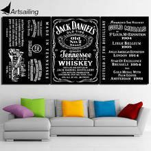 HD Printed 3 piece Canvas Art Painting Wine Jack Daniel Poster Black and White Painting Room Decoration Free shipping/ny-6680D