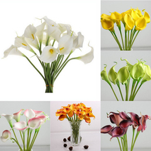 10pcs Simulation Calla Lily Artificial Flower PU Real Home Decoration Flowers Wedding Party Bouquet Decorative Flowers P0