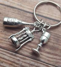 12pcs/lot Wine Keyring Alcohol Keychain Wine Charms Lover Drink Keyring I Love Wine Keychain(China)