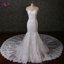 Buy Waulizane Romantic Chaple Train Sweetheart Mermaid Wedding Dress Glamorous Appliques Beading Lace 2017 Bridal Gown Plus Size for $205.49 in AliExpress store