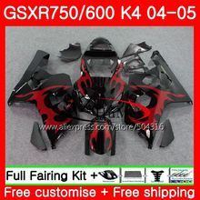 Bodys For SUZUKI red flames GSXR 600 R600 GSXR 750 04 05 K4 GSX-R750 30SH21 GSX-R600 GSXR750 04 05 GSXR600 2004 2005 Fairings(China)
