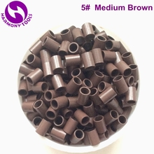 (1000pcs/bag, 3.0mm x2.4mm x4.0mm) HARMONY Medium Brown Euro easilocks micro tubes rings without flared end for hair extensions