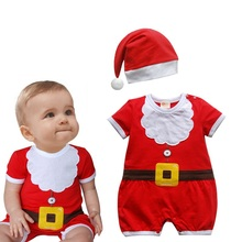 Red Christmas Jumpsuits Hats Newborn Baby Boy Clothes Toddler Clothing Fantasias Infantil Macacao Bebe Infant Christmas Costume