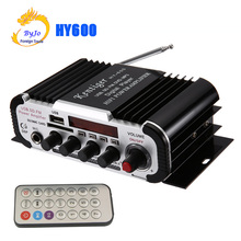 HY600 Mini Amplifier Car Amplifier 20W+20W FM Audio MIC MP3 Speaker Stereo Amplifier for Motorcycle Car Home use(China)
