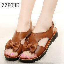 ZZPOHE 2017 summer new Woman sandals mom soft bottom non-slip elderly flat leather sandals elastic casual female Work sandals