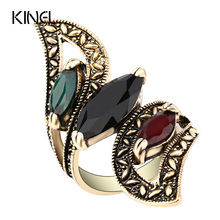 Fashion 2016 Vintage Big Ring Antique Gold Color Mosaic Colorful Resin Rings For Women Size 6 7 8 9 10 Turkish Jewelry(China)